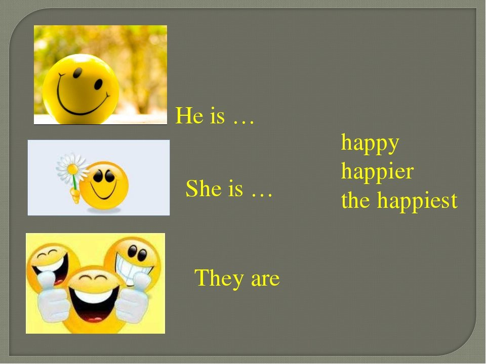 He is … She is … They are happy happier the happiest