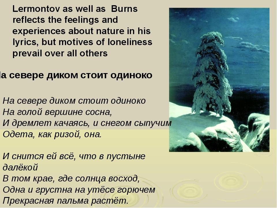 На севере диком стоит одиноко На голой вершине сосна, И дремлет качаясь, и сн...
