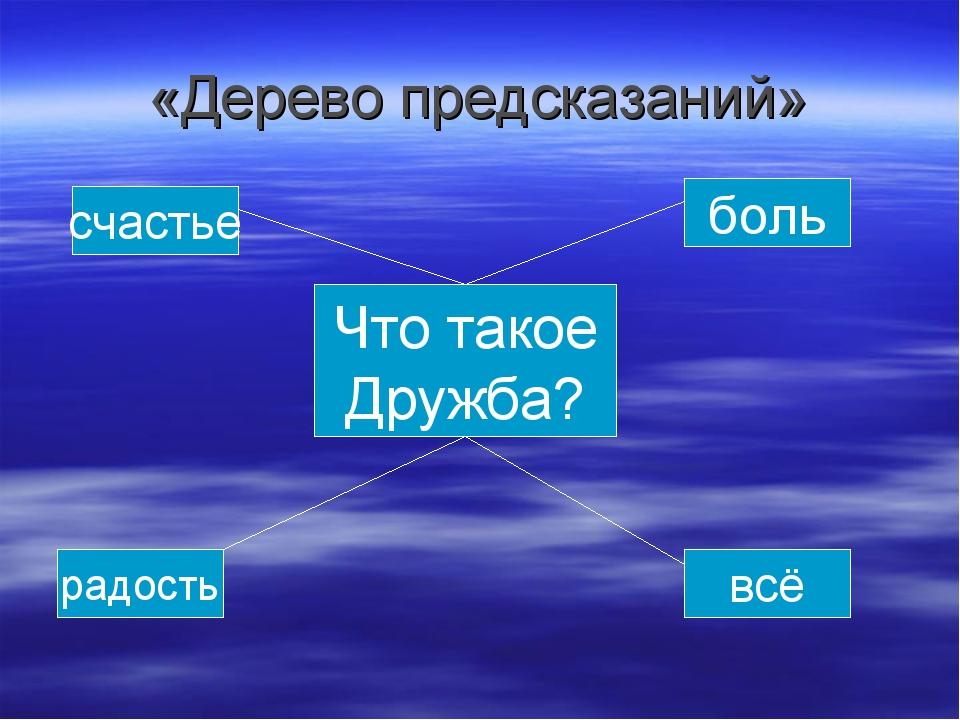 «Дерево предсказаний» Что такое Дружба? счастье боль всё радость