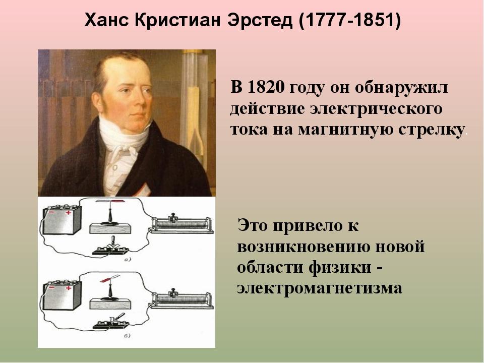 Ханс Кристиан Эрстед (1777-1851) В 1820 году он обнаружил действие электричес...