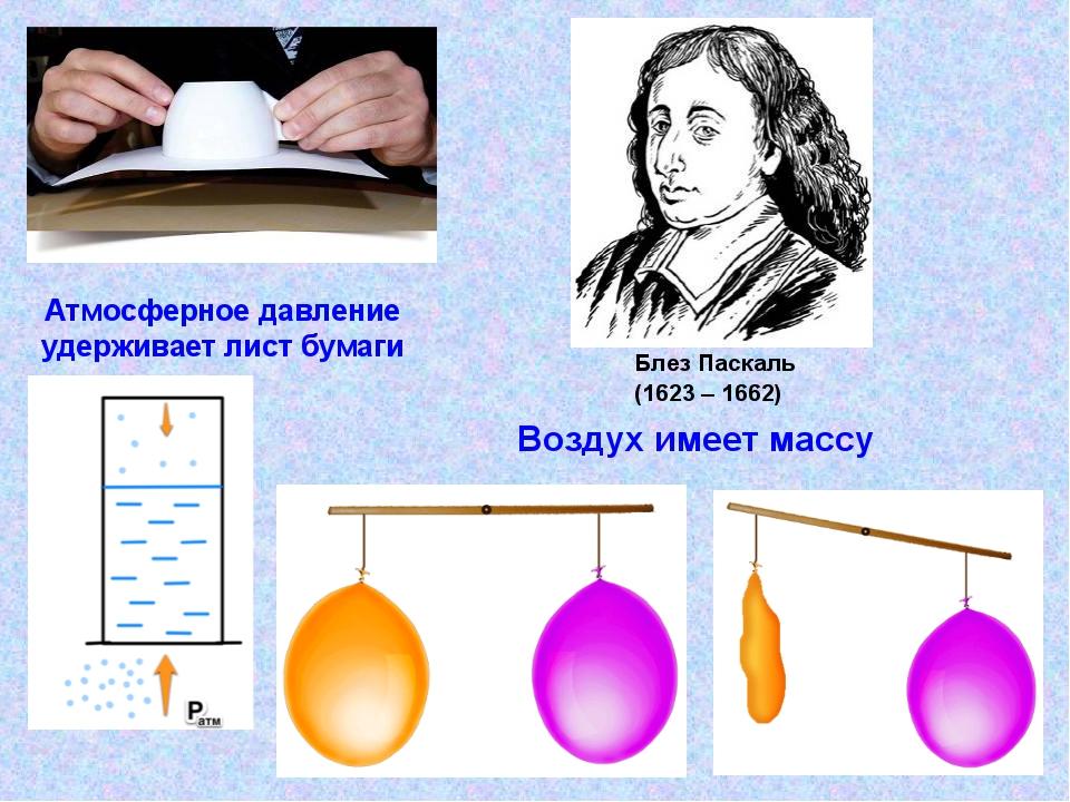 Атмосферное давление удерживает лист бумаги Блез Паскаль (1623 – 1662) Воздух...