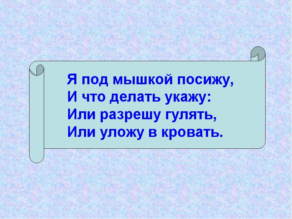 Я под мышкой посижу, И что делать укажу: Или разрешу гулять, Или уложу в кро...