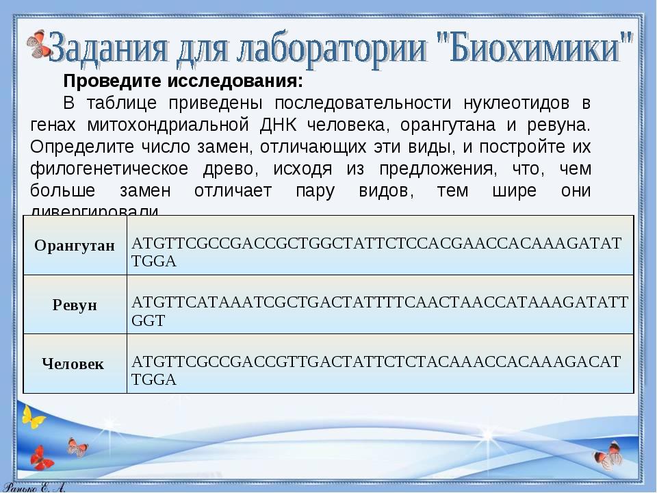 Проведите исследования: В таблице приведены последовательности нуклеотидов в...