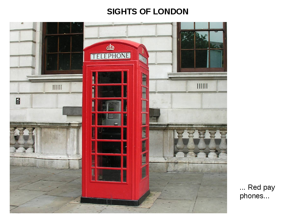 ... Red pay phones... SIGHTS OF LONDON