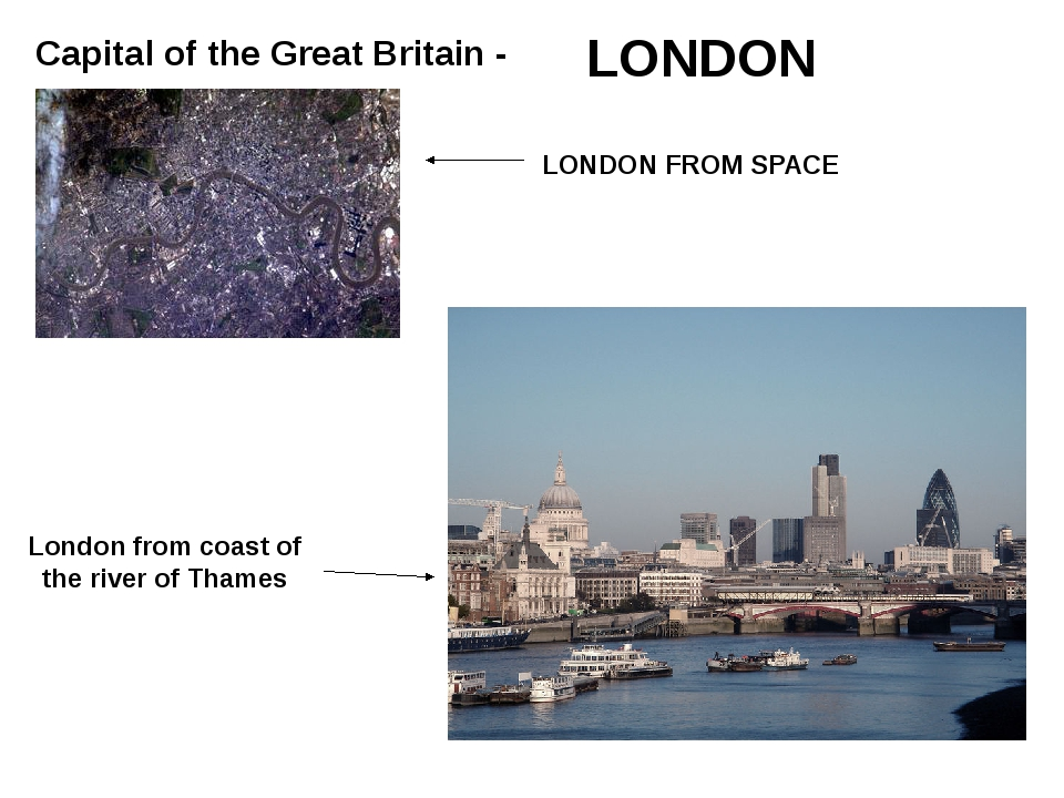 Capital of the Great Britain - LONDON LONDON FROM SPACE London from coast of...