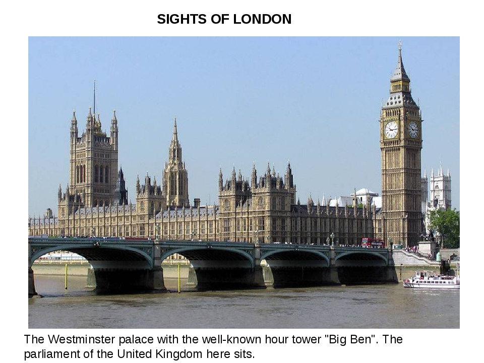 "SIGHTS OF LONDON The Westminster palace with the well-known hour tower ""Big..."