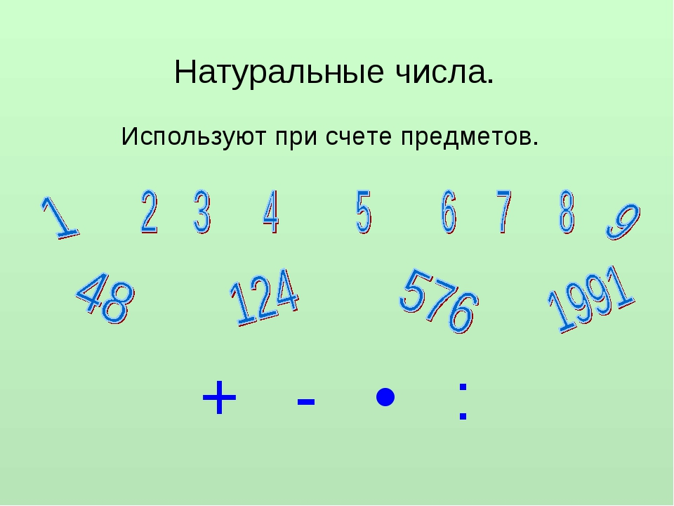 Натуральные числа. Используют при счете предметов. + - • :