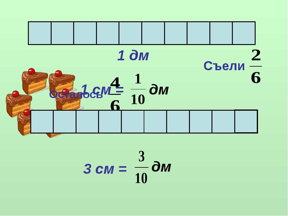 Осталось Съели 1 дм 1 см = дм 3 см = дм