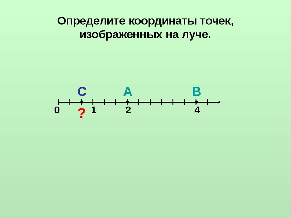 Определите координаты точек, изображенных на луче. ● ● ● 0 1 С А В ? 2 4
