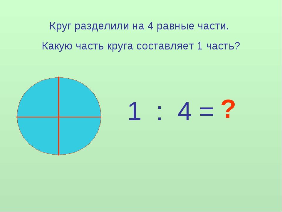 Круг разделили на 4 равные части. Какую часть круга составляет 1 часть? 1 : 4...