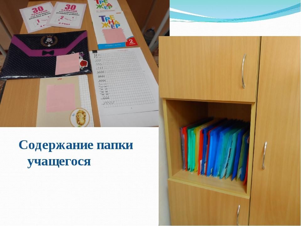 Содержание папки учащегося
