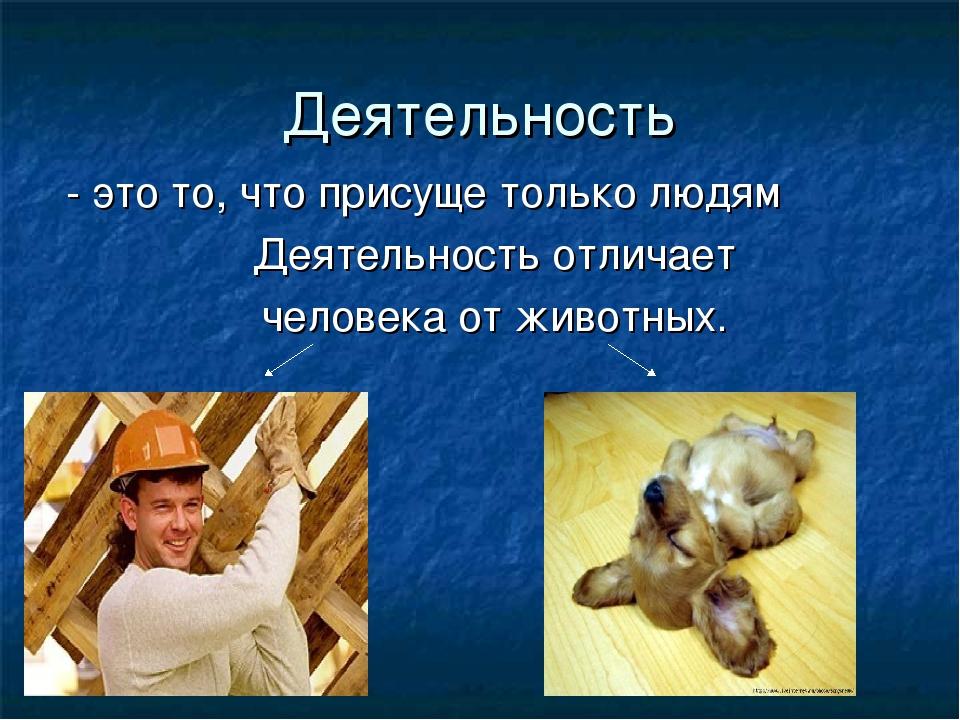 Деятельность - это то, что присуще только людям Деятельность отличает человек...