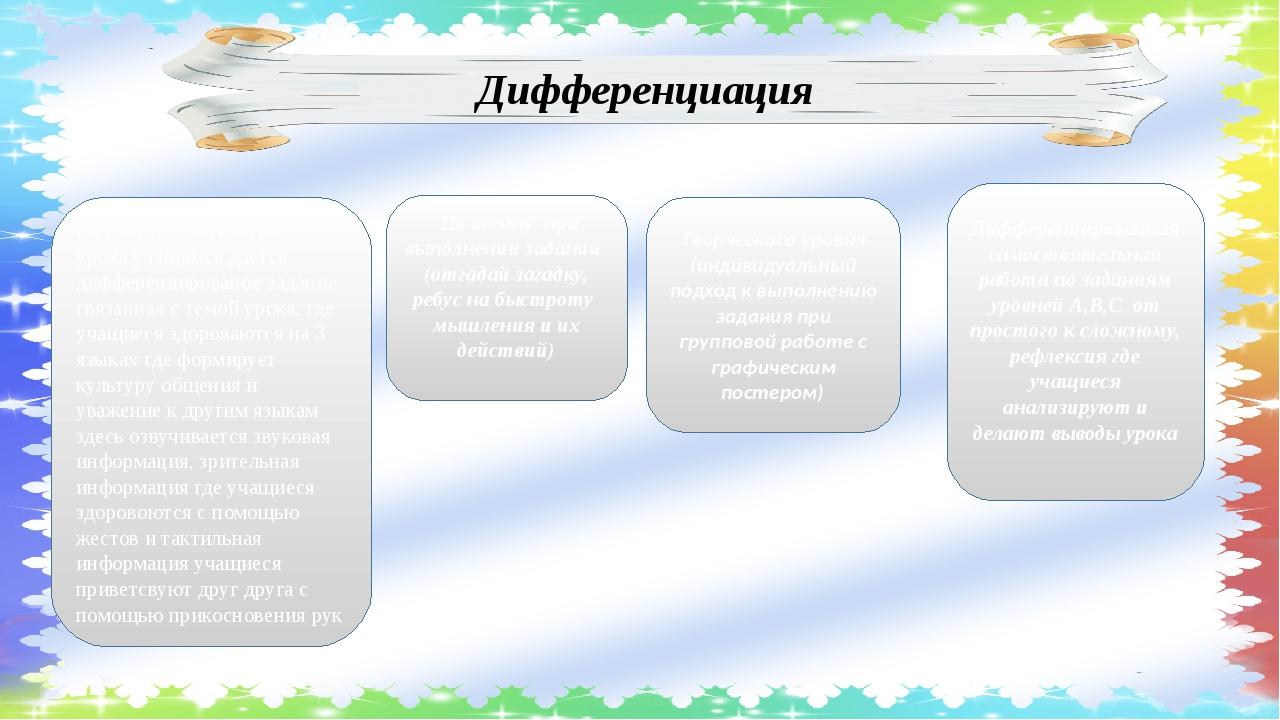 Дифференциация По темпу при выполнении заданий (отгадай загадку, ребус на быс...