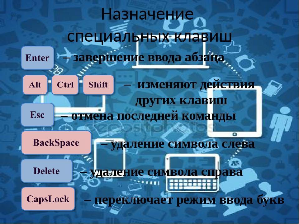 Основная позиция пальцев на клавиатуре При печати слепым десятипальцевым спо...