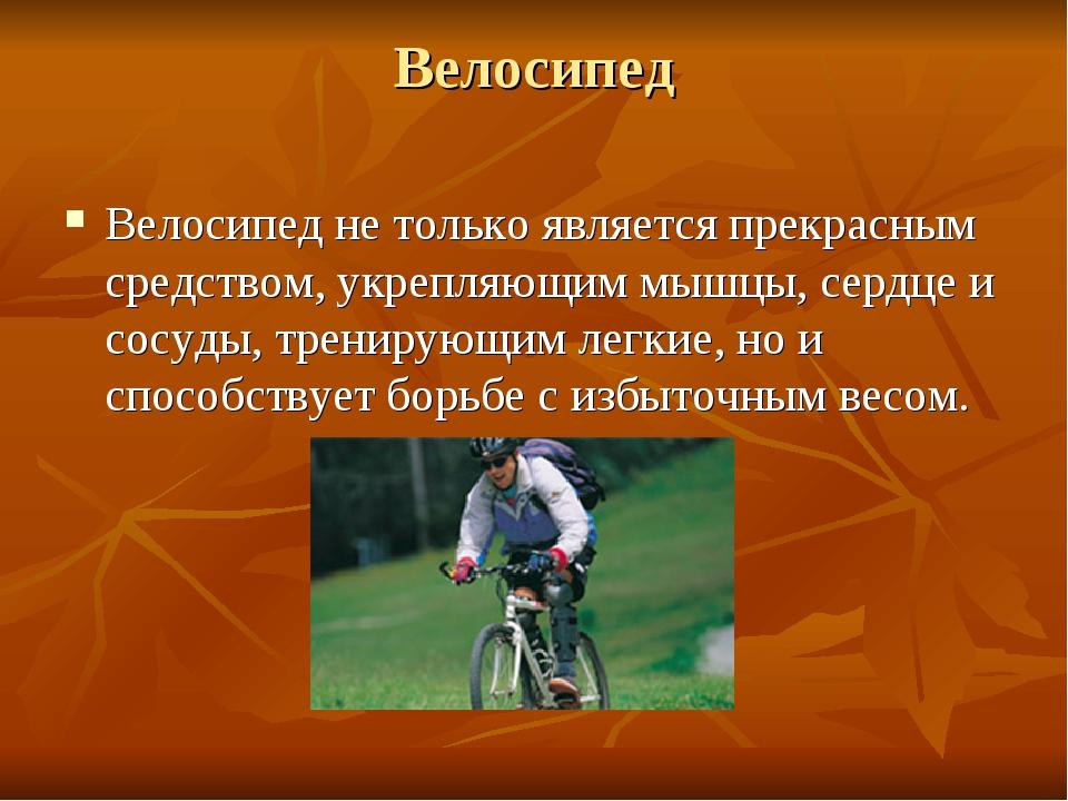 Велосипед Велосипед не только является прекрасным средством, укрепляющим мышц...