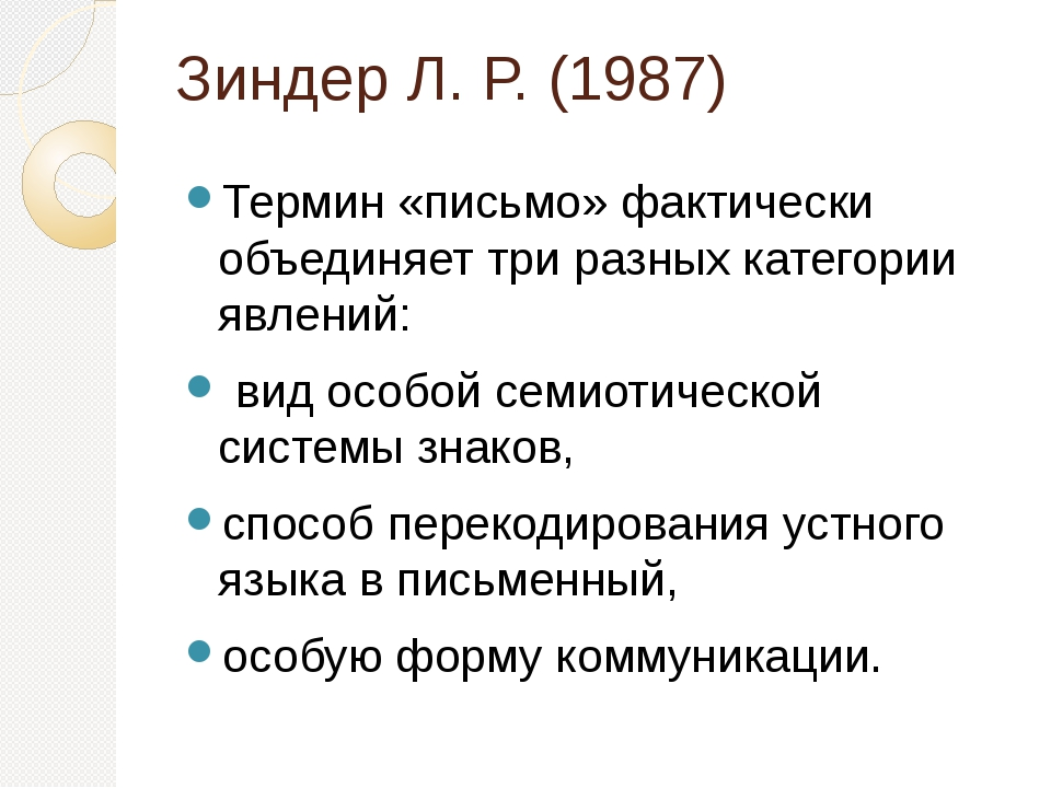 Зиндер Л. Р. (1987) Термин «письмо» фактически объединяет три разных категори...