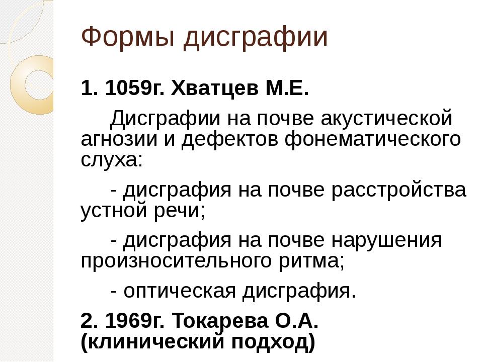 Формы дисграфии 1. 1059г. Хватцев М.Е. Дисграфии на почве акустической агнози...