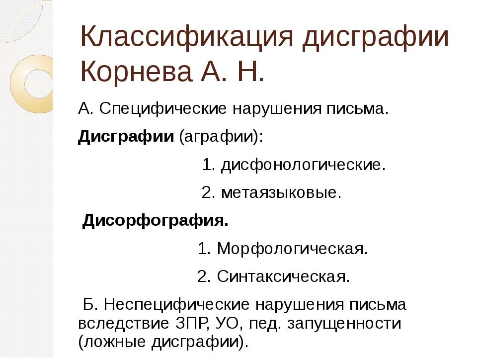 Классификация дисграфии Корнева А. Н. А. Специфические нарушения письма. Дисг...