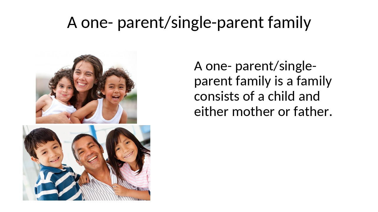 A one- parent/single-parent family A one- parent/single-parent family is a fa