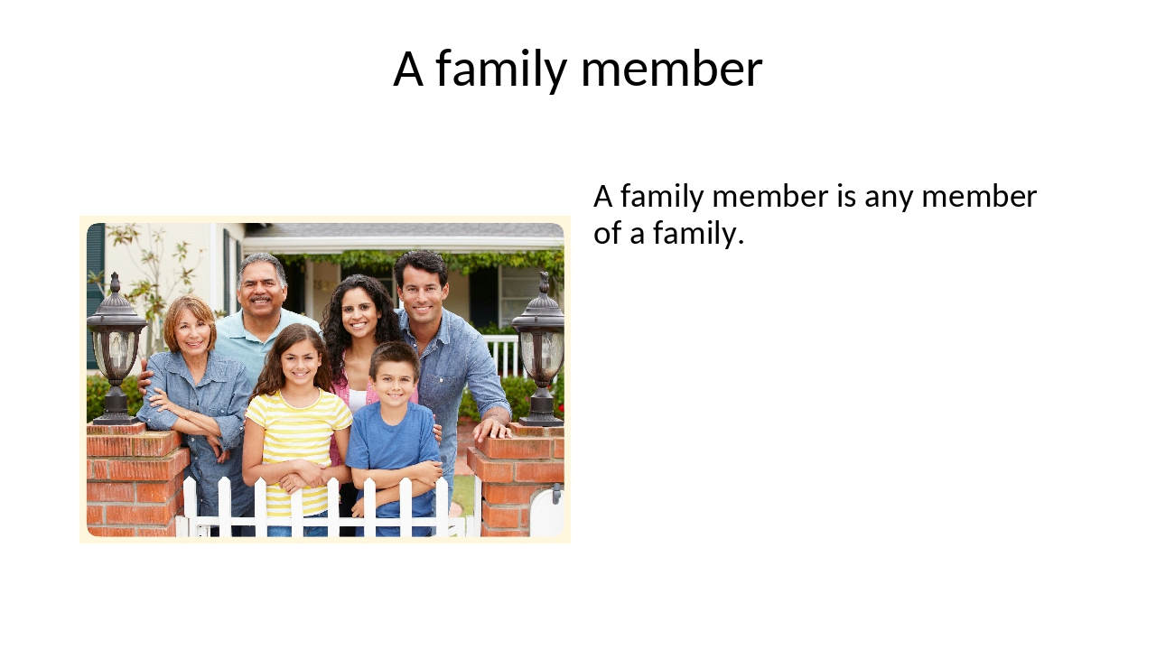 A family member A family member is any member of a family.