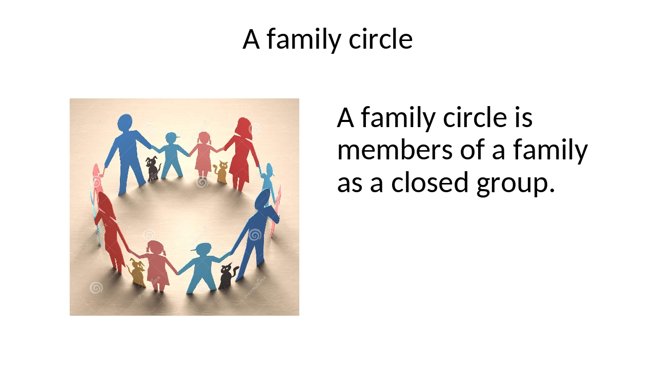 A family circle A family circle is members of a family as a closed group.
