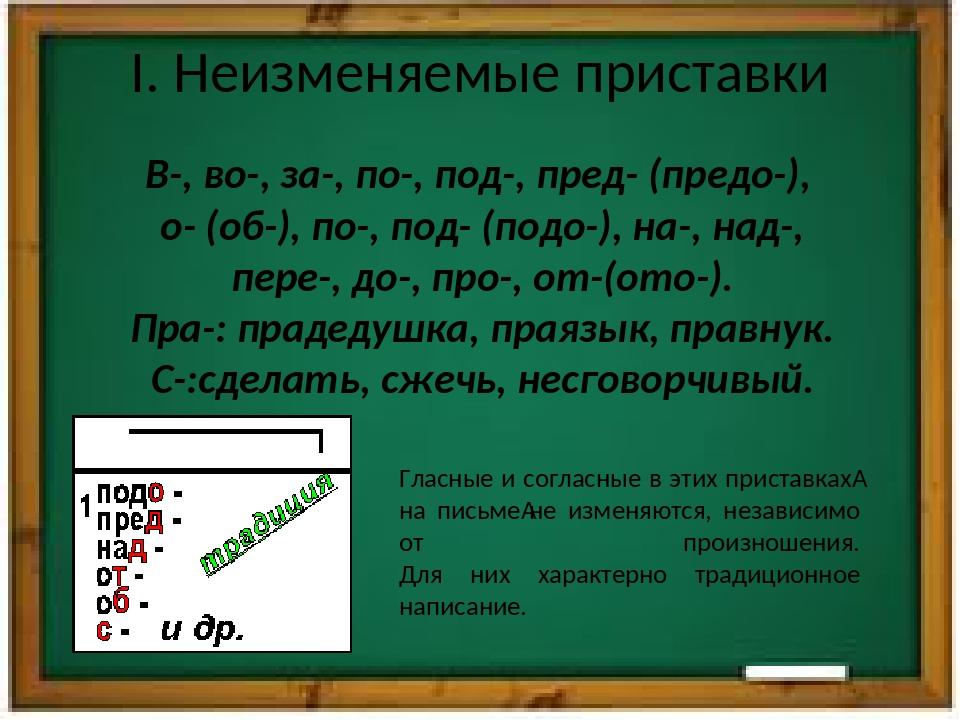 I. Неизменяемые приставки В-, во-, за-, по-, под-, пред- (предо-), о- (об-),...