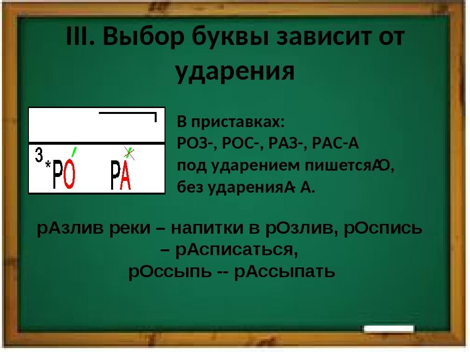 III. Выбор буквы зависит от ударения В приставках: РОЗ-, РОС-, РАЗ-, РАС- по...
