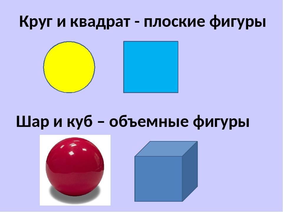 Круг и квадрат - плоские фигуры Шар и куб – объемные фигуры