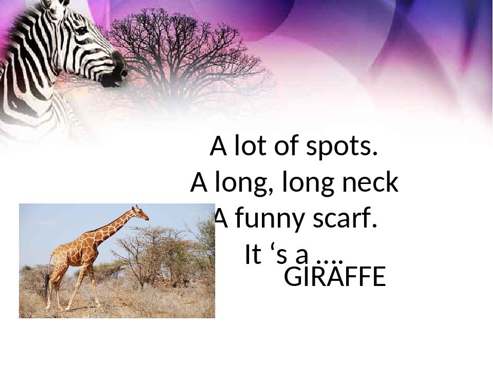 A lot of spots. A long, long neck A funny scarf. It 's a …. GIRAFFE
