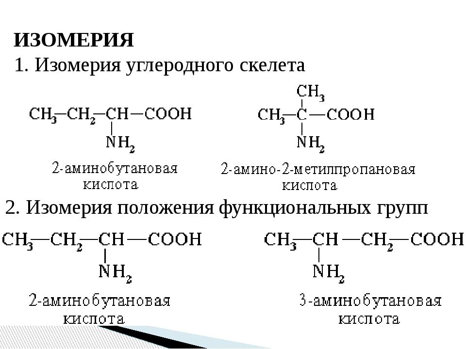 ИЗОМЕРИЯ 1. Изомерия углеродного скелета 2. Изомерия положения функциональных...