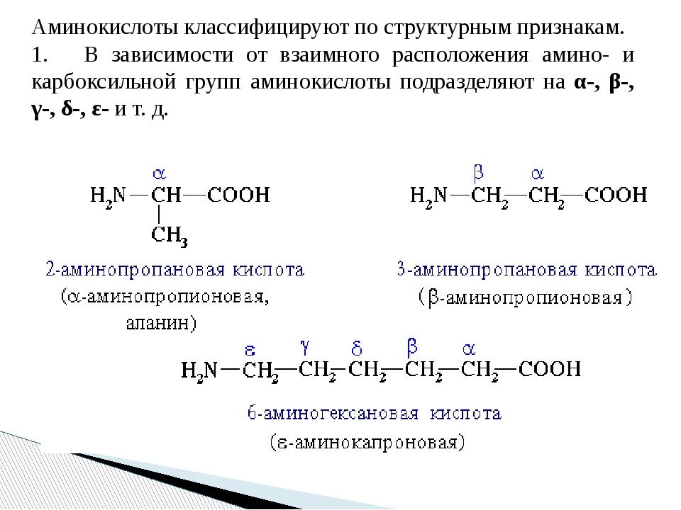 Аминокислоты классифицируют по структурным признакам. 1. В зависимости от...