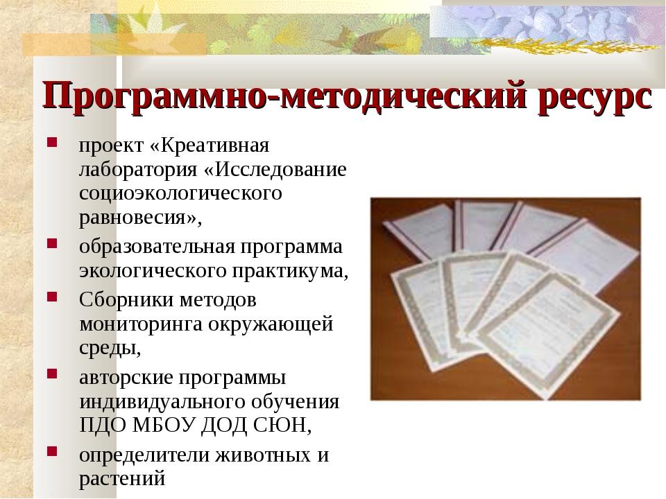 Программно-методический ресурс проект «Креативная лаборатория «Исследование с...