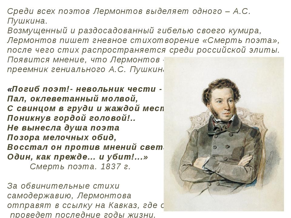 Среди всех поэтов Лермонтов выделяет одного – А.С. Пушкина. Возмущенный и раз...