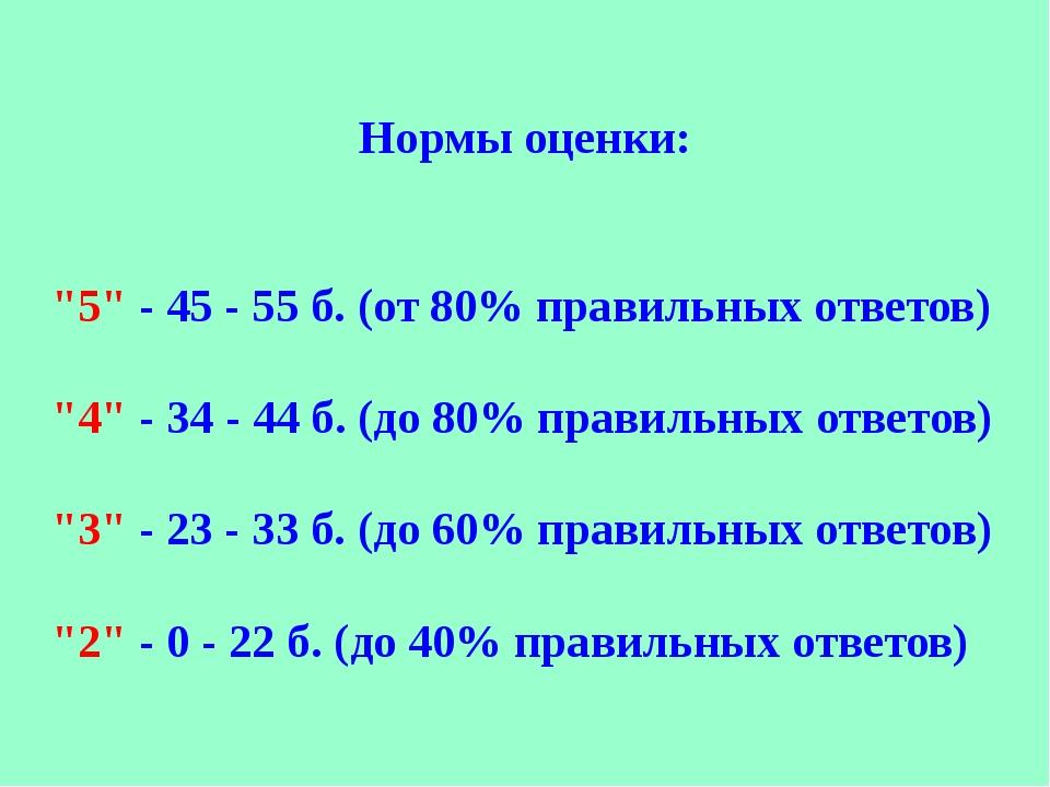 """Нормы оценки: """"5"""" - 45 - 55 б. (от 80% правильных ответов) """"4"""" - 34 - 44 б. (..."""