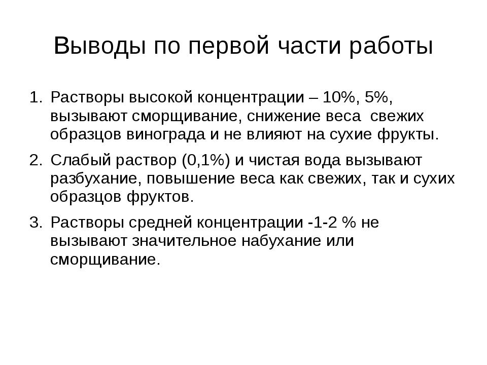 Выводы по первой части работы Растворы высокой концентрации – 10%, 5%, вызыва...