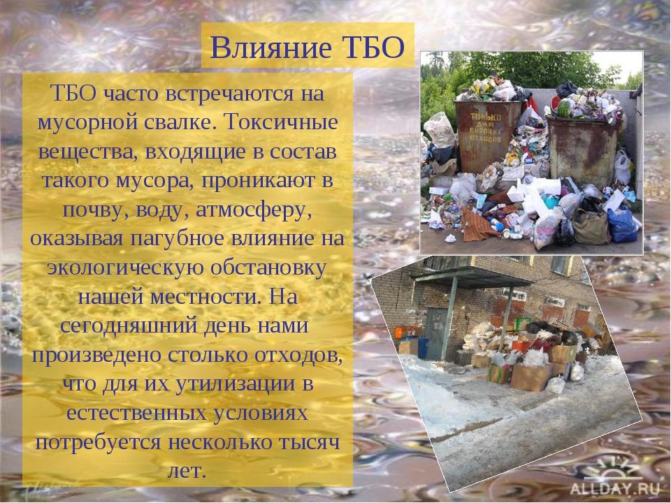 ТБО часто встречаются на мусорной свалке. Токсичные вещества, входящие в сост...