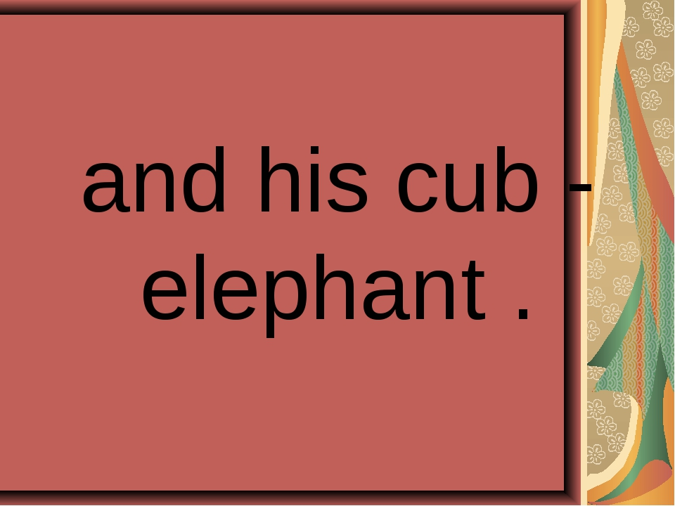 and his cub - elephant .