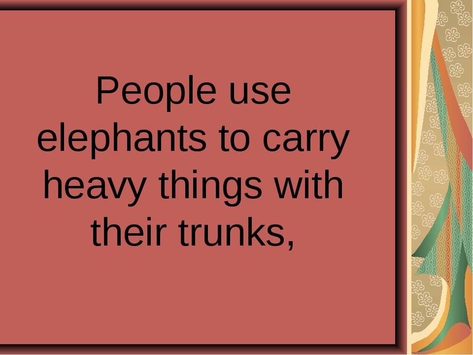 People use elephants to carry heavy things with their trunks,