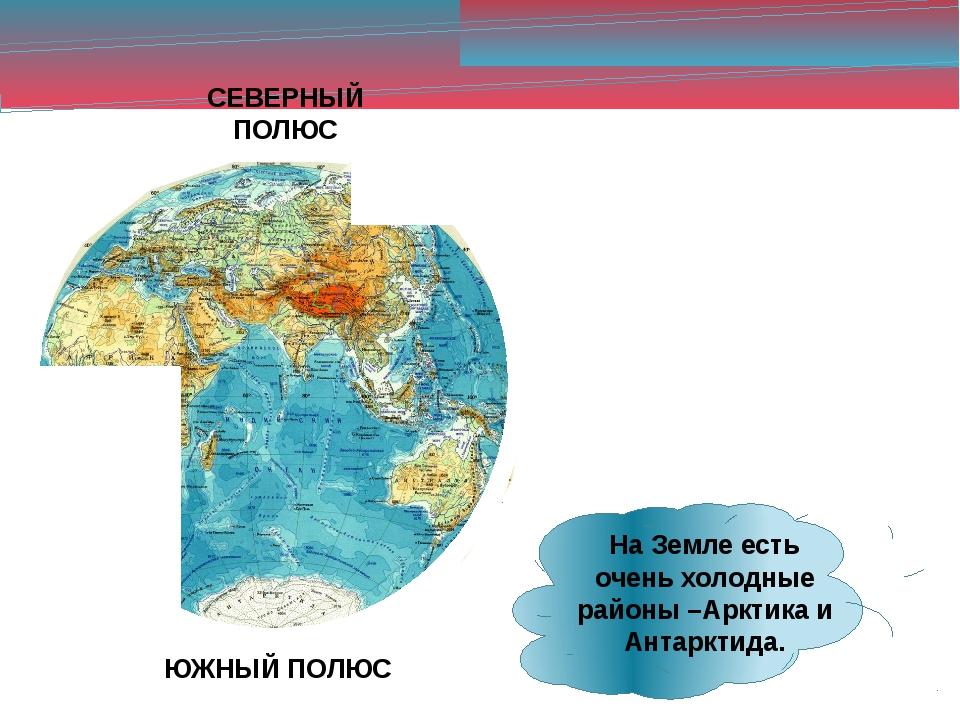 СЕВЕРНЫЙ ПОЛЮС ЮЖНЫЙ ПОЛЮС На Земле есть очень холодные районы –Арктика и Ант...