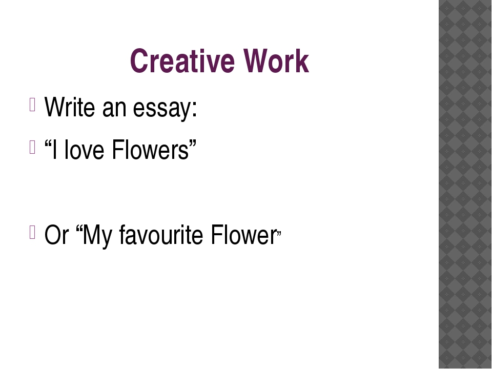 """Creative Work Write an essay: """"I love Flowers"""" Or """"My favourite Flower"""""""
