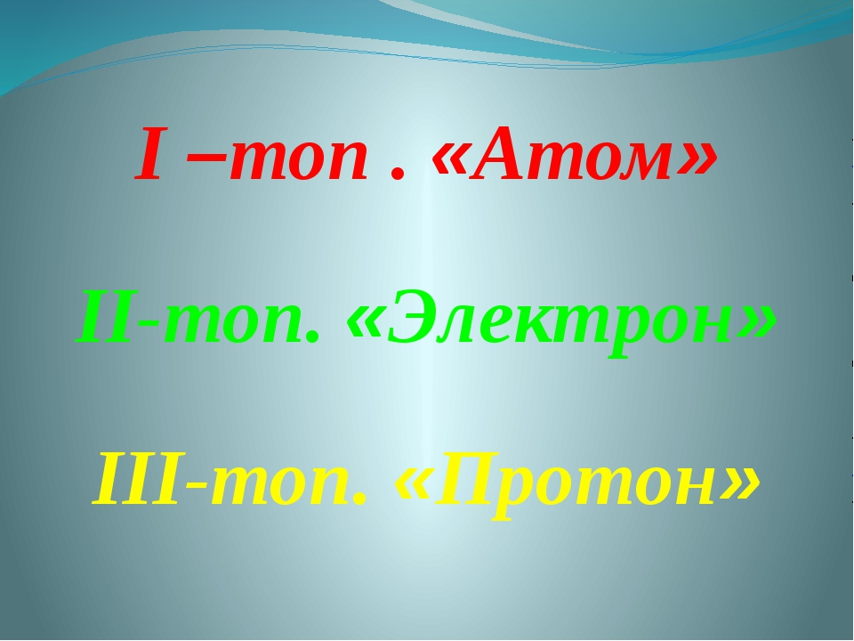 I –топ . «Атом» II-топ. «Электрон» III-топ. «Протон»