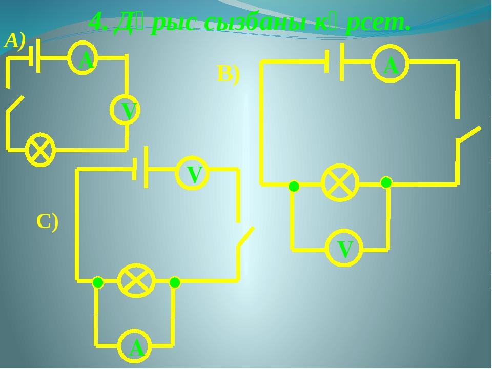 4. Дұрыс сызбаны көрсет. А V А) В) A V V A C)