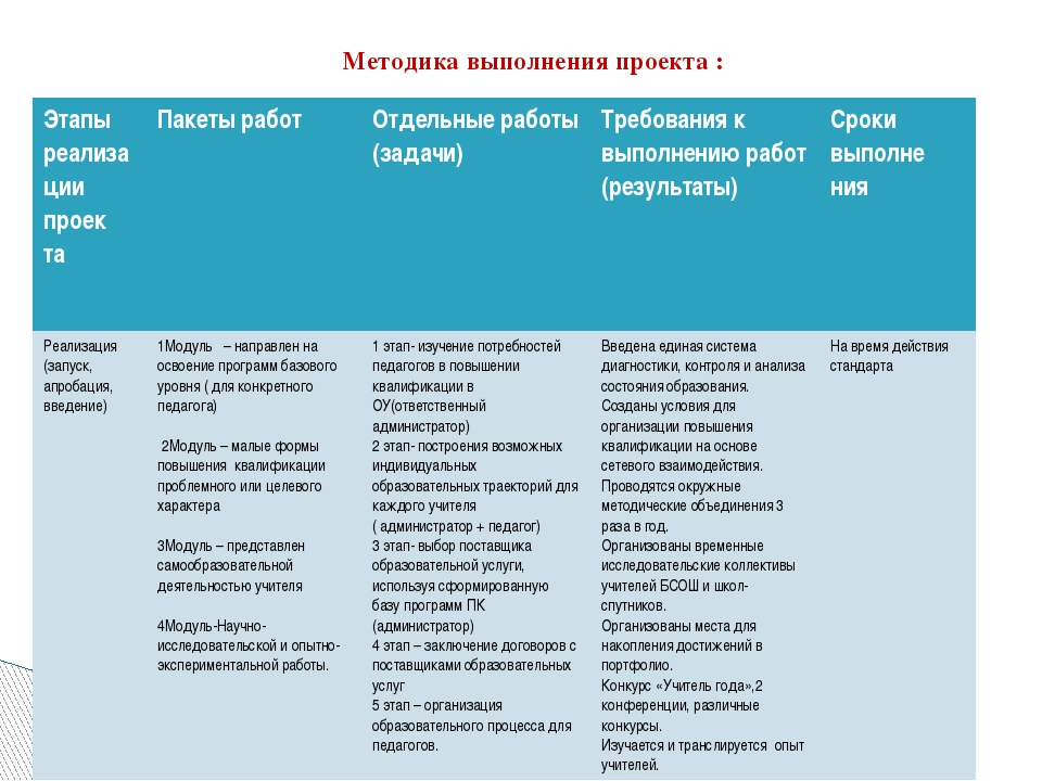 Методика выполнения проекта : Этапы реализациипроек та Пакеты работ Отдельные...