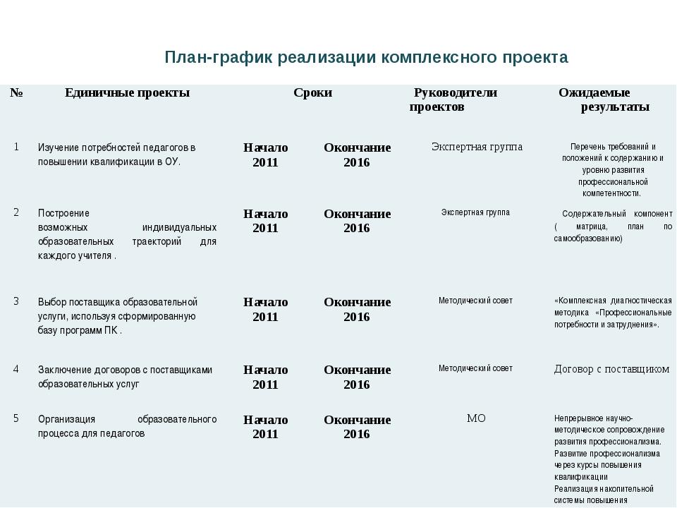 План-график реализации комплексного проекта № Единичные проекты Сроки Руковод...