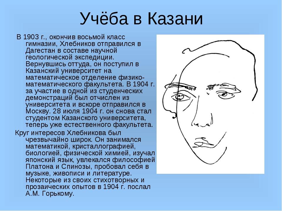 Учёба в Казани В 1903 г., окончив восьмой класс гимназии, Хлебников отправилс...