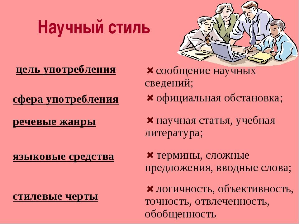 Научный стиль цель употребления сфера употребления речевые жанры языковые сре...