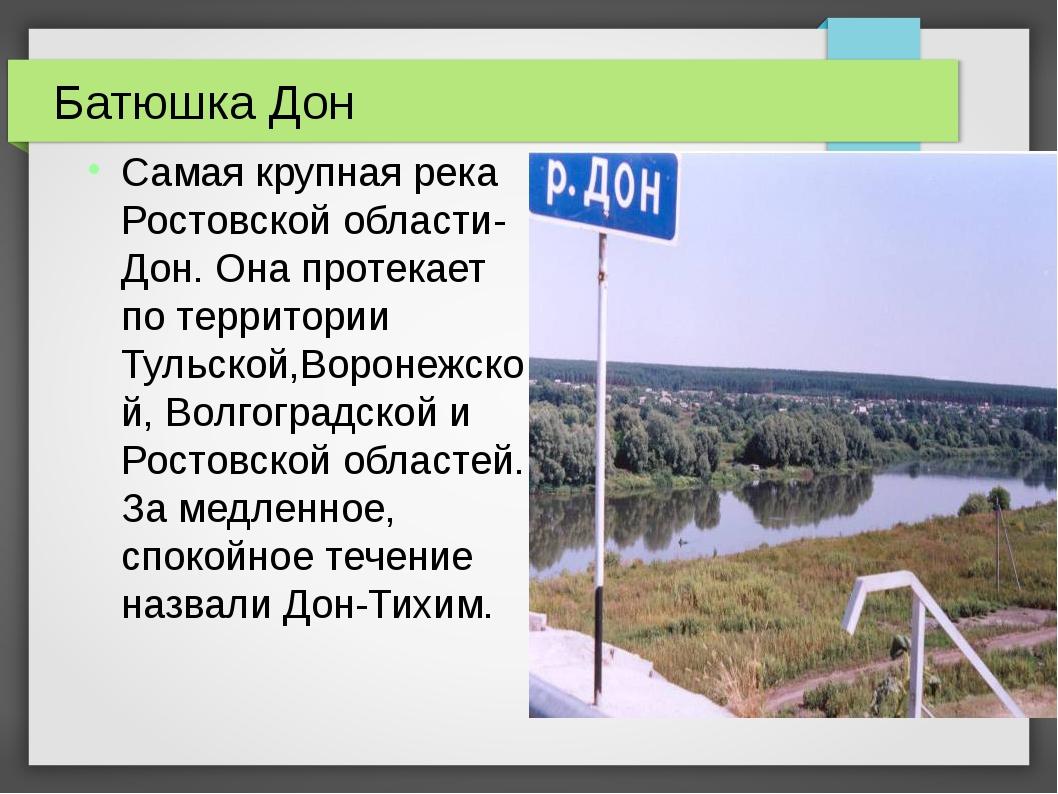 Батюшка Дон Самая крупная река Ростовской области- Дон. Она протекает по терр...