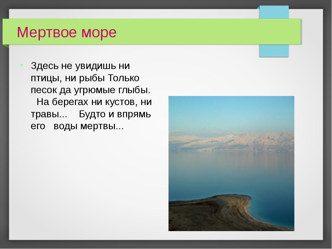 Мертвое море Здесь не увидишь ни птицы, ни рыбы Только песок да угрюмые глыбы...