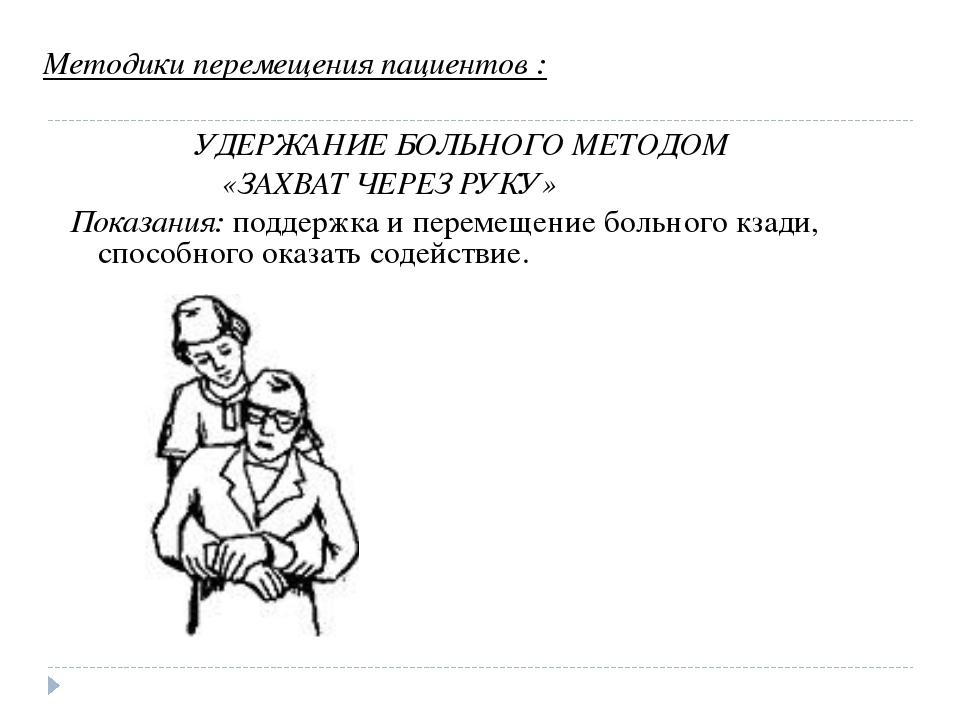 Методики перемещения пациентов : УДЕРЖАНИЕ БОЛЬНОГО МЕТОДОМ «ЗАХВАТ ЧЕРЕЗ РУК...