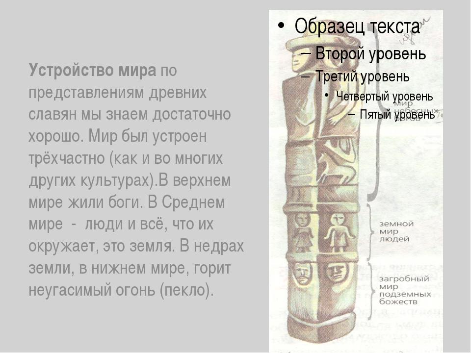 Устройство мира по представлениям древних славян мы знаем достаточно хорошо....